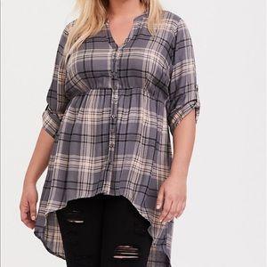 NWT Gray & Blush Hi-lo plaid Tunic Torrid Size 3